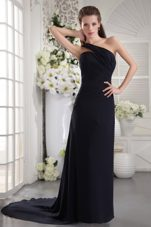 Black Column Ruche Prom Evening Dress One Shoulder