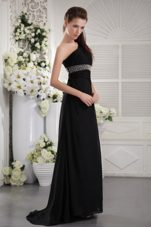 One Shoulder Ruche Black Prom Evening Dress Beading