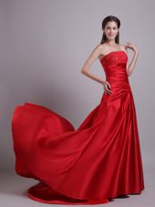 Red Empire Court Beading Prom Evening Dress Ruche