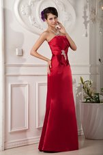 Strapless Floor-length Satin Red Beading Prom Evening Dress