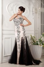 Champagne Brush Tulle Satin Appliques Prom Evening Dress Beading
