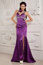 Mermaid Halter Brush Eggplant Purple Evening Celebrity Dress Beading