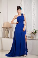 One Shoulder Brush Chiffon Evening Celebrity Dress Royal Blue