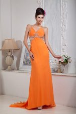 Orange Red Beading Prom Evening Dress Halter Brush Chiffon