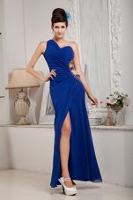 Royal Blue Empire One Shoulder Prom Evening Dress Chiffon Ruche