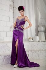 Eggplant Purple Prom Evening Dress One Shoulder Brush Beading