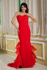 Red Mermaid Sweetheart Brush Chiffon Prom Evening Dress Organza