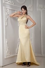 One Shoulder Brush Satin Beading Prom Evening Dress Light Yellow