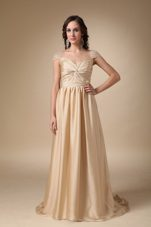 Sweetheart Brush Gold Column Taffeta Ruche Prom Evening Dress