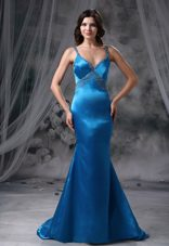 2013 Mermaid Blue Beaded Straps Bust Brush Prom Evening Dress
