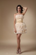 Pretty Beading Champagne A-line Strapless Short Homecoming Dress