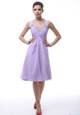 Inexpensive Lavender Straps Knee-length Homecoming Dresses