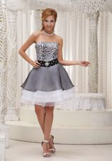 Colorful Beading Strapless A-line Short Evening Dress