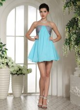 Aqua Blue and Grey Mini-length Prom Cocktail Dress