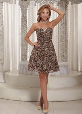 Multi-color Leopard V-neck Mini-length Prom Cocktail Dress