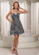 Leopard A-line V-neck Mini-length Multi-color Prom Cocktail Dress