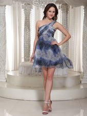High-low One Shoulder Printing Homecoming Dress For Prom