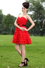 Red Sweetheart Chiffon Prom Party Dress
