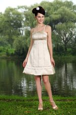 Affordable Champagne Beading Straps Homecoming Dresses for Prom