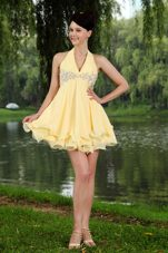 Empire Yellow Halter Beading Lovely Prom Party Dresses