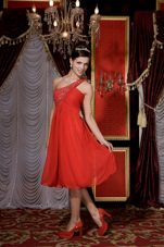Empire Red Tea-length Beading One Shoulder Prom Homecoming Dress
