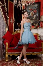 Beading Light Blue Sweetheart Prom Dress With Lace up