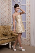Beading and Ruching Champagne Column Strapless Prom Party Dress