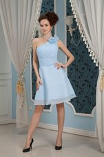 One Shoulder Hand Made Flowers Homecoming Dresses in Baby Blue