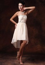 Asymmetrical Empire Custom Made ChampagneSweetheart Prom Gowns