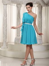 Teal One Shoulder Beading Graduation Dress Empire