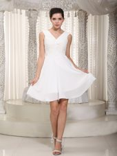 White V-neck MIni-length Prom Graduation Dress
