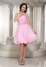 A-line Baby Pink Graduation Cocktail Dress Beaded