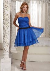 Prom Dress Ruched Peacock Blue Mini-length