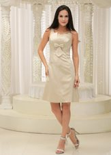 Srapless Champagne Appliques Bust Prom Dress Bowknot