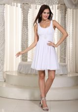 White Empire Straps Mini Beading Holiday Dress