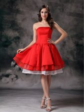 White and Red A-line Strapless Mini Taffeta Graduation Dress
