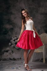 Graduation Dress White and Red Straps Mini Bow Prom