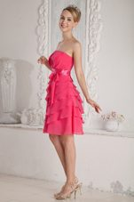 Hot Pink Empire Strapless Mini Ruche Sash Prom Dress