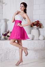 Hot Pink A-line Sweetheart Mini Beading Graduation Dress