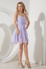 Bowknot Lilac Sweetheart Chiffon Graduation Homecoming Dress Mini-length