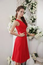 2013 Red Empire Chiffon Prom Graduation Dress V-neck Knee-length