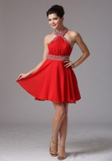 2013 Halter Beading Ruche Prom Holiday Dress Chiffon Red