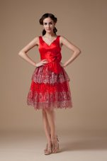 V-neck Bowknot Layered Satin Beaded Red Prom Holiday Dress