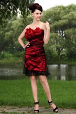 Tulle Hand Made Flowers Holiday Homecoming Dresses Wine Red