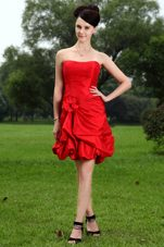 Red Mini-length Taffeta Graduation Dresses Hand Made Flower