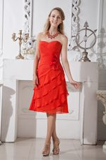 Bright Red A-line Chiffon Holiday Graduation Dresses Layered