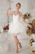 White A-line Mini-length Organza Prom Holiday Dresses Ruffles