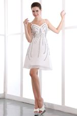 Spaghetti Straps White V-neck Prom Holiday Dresses Sequuins