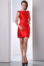 Bright Red Bateau Mini-length Taffeta Prom Holiday Dresses
