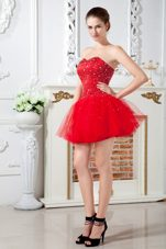 Red Mini-length Holiday Homecoming Dresses Tulle Beading